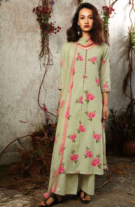 Summer Collection Modal Cotton Digital Print Salwar Suit Sets In Lime Green - SUN7749