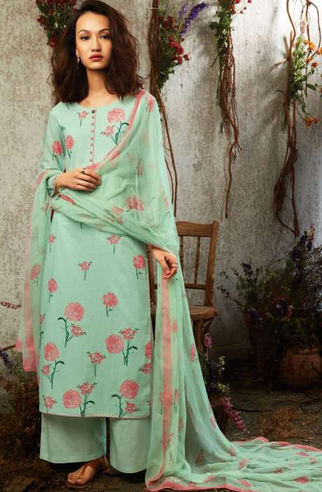 Summer Collection Modal Cotton Digital Printed Suit Sets In Mint Green - SUN7750