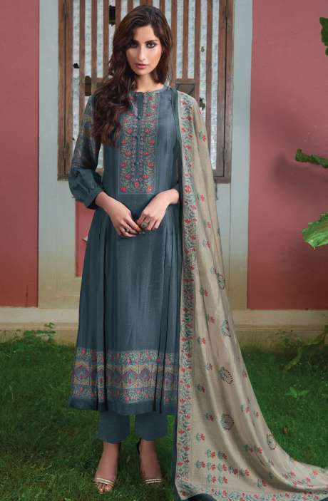 Spun Digital Printed Beautiful Salwar Kameez In Grey - SUR1902