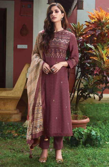 Spun Digital Printed Beautiful Salwar Kameez In Mauve - SUR1909