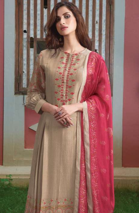 Spun Digital Printed Beautiful Salwar Kameez In Beige - SUR1919
