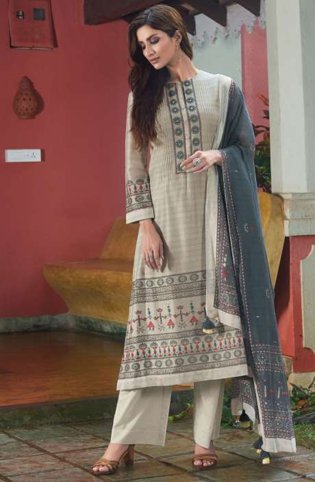 Spun Digital Printed Beautiful Salwar Kameez In Pastel Grey - SUR1920