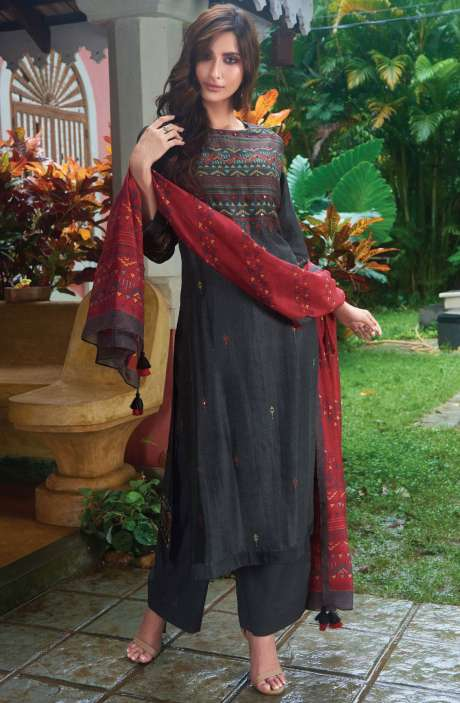 Spun Digital Printed Beautiful Salwar Kameez In Black - SUR1942