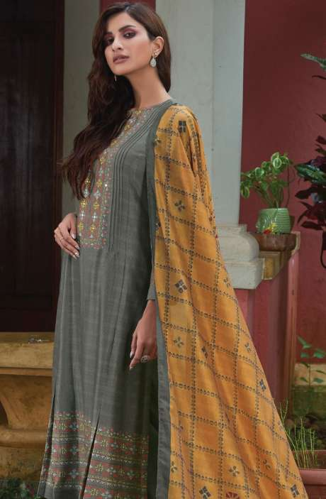 Spun Digital Printed Beautiful Salwar Suit In Pastel Grey - SUR1971
