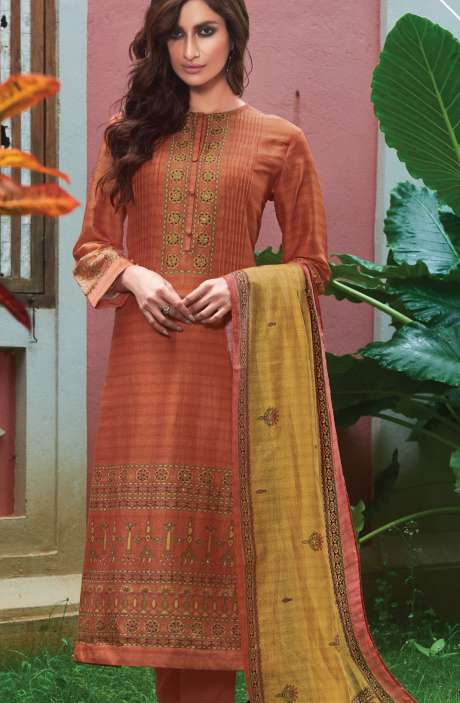 Spun Digital Printed Beautiful Salwar Kameez In Peach - SUR1990