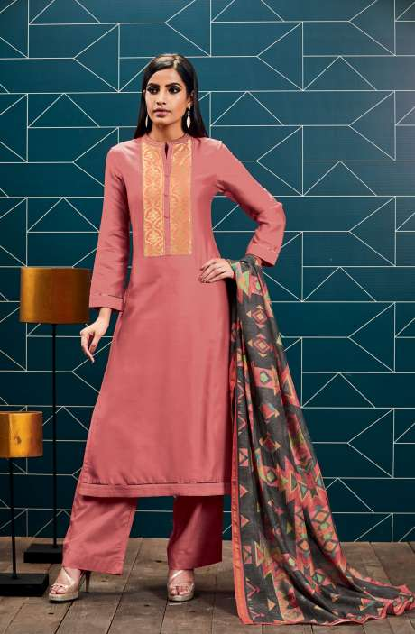 Chanderi and Cotton Satin Unstitched Pink Salwar Suit - SWA01-R