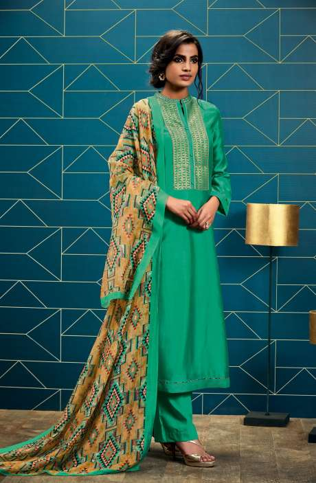 Chanderi and Cotton Satin Unstitched Designer Green Salwar Kameez - SWA06-R