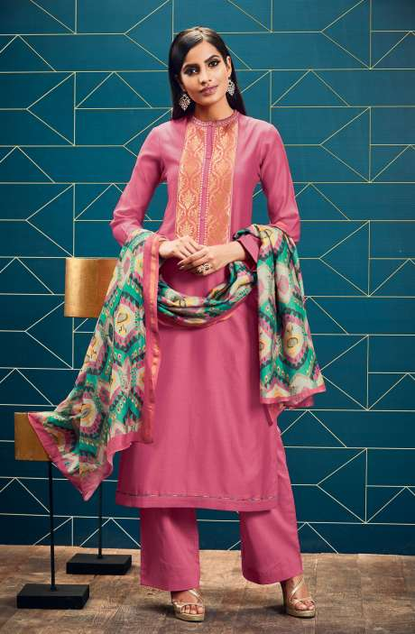 Chanderi and Cotton Satin Unstitched Pink Salwar Suit - SWA08-R
