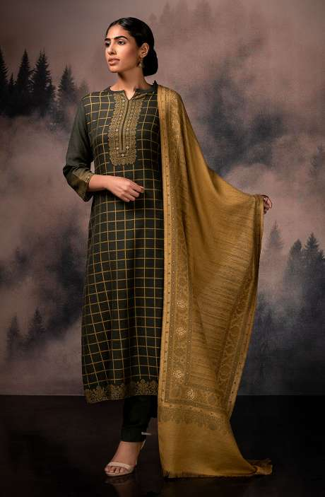 Exclusive Pure Pashmina Beautiful Jacquard Weaving Salwar Suit In Olive Green - TAA8222