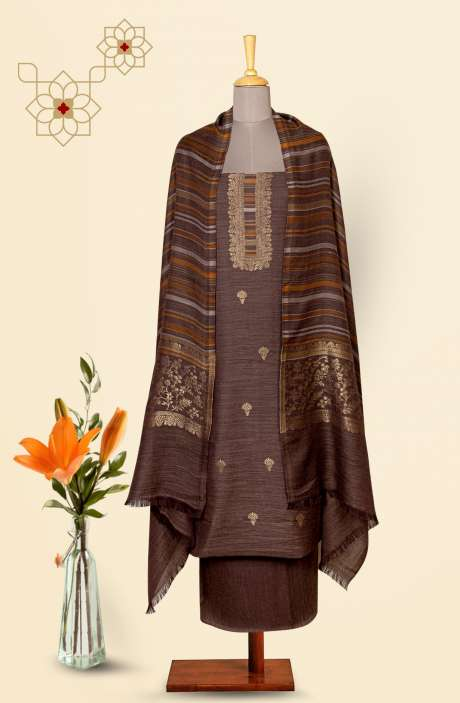 Pure Pashmina Exclusive Beautiful Salwar Kameez In Brown - TAA8232