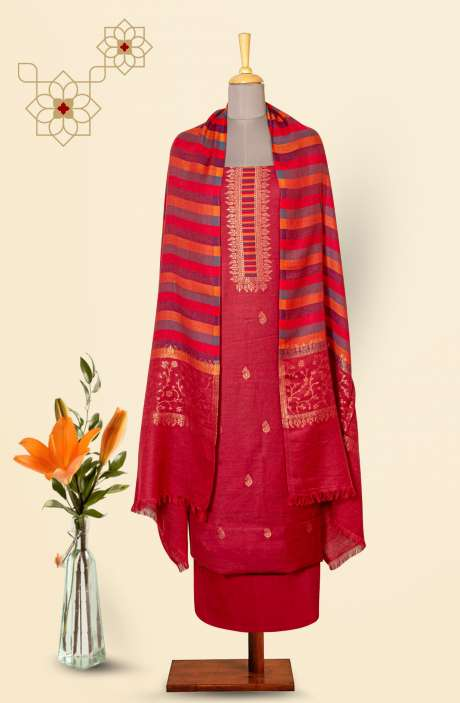 Pure Pashmina Exclusive Beautiful Salwar Kameez In Maroon - TAA8233