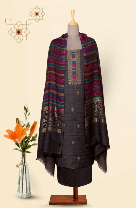 Pure Pashmina Exclusive Beautiful Salwar Kameez In Dark Grey - TAA8234