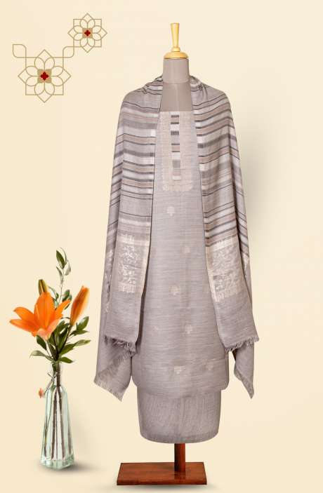 Pure Pashmina Exclusive Beautiful Salwar Kameez In Grey - TAA8235