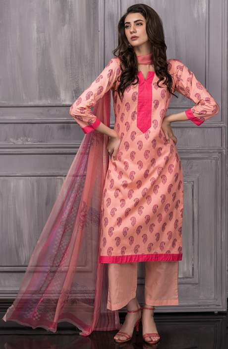 Digital Floral Printed Cotton Salwar Suit Sets In Peach - TAB815B