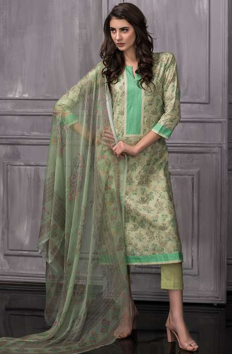 Digital Floral Printed Cotton Salwar Kameez Sets In Green - TAB816A