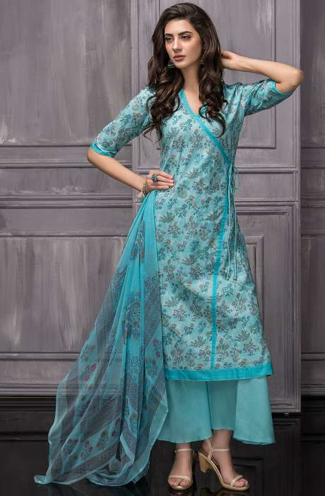Digital Floral Printed Cotton Salwar Kameez Sets In Sky Blue - TAB816B