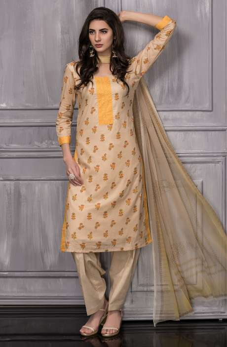 Digital Floral Printed Cotton Suit Sets In Beige - TAB817A
