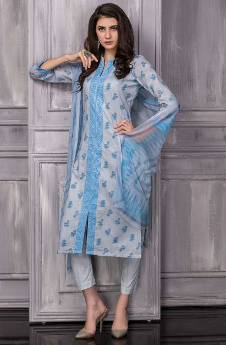 Digital Floral Printed Cotton Suit Sets In Grey - TAB817B