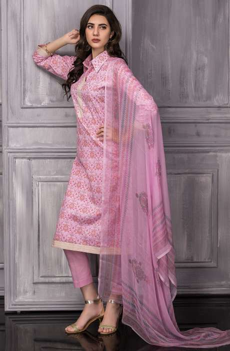Digital Floral Printed Cotton Suit Sets In Baby Pink - TAB818A