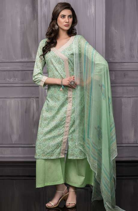 Digital Floral Printed Cotton Suit Sets In Green - TAB818B