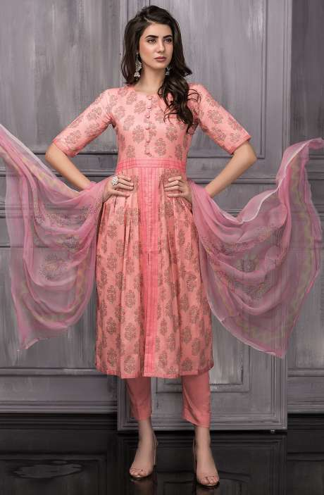 Digital Floral Printed Cotton Suit Sets In Peach - TAB819A