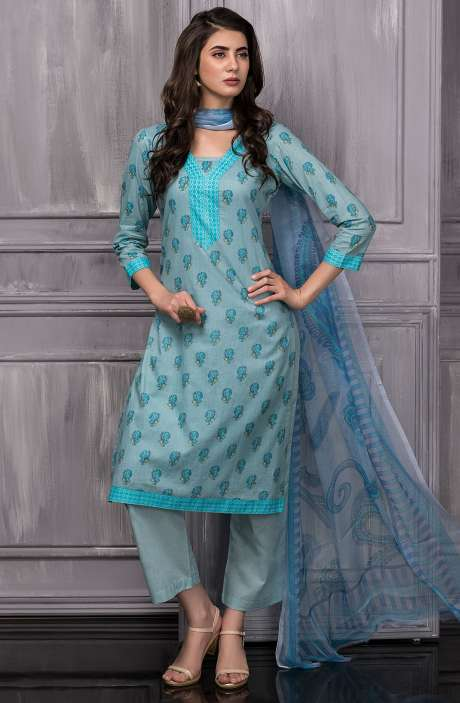 Digital Floral Printed Cotton Suit Sets In Pastel Blue - TAB820A
