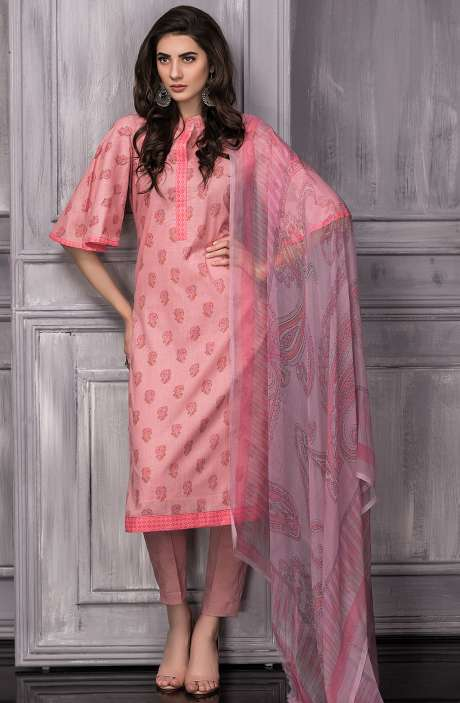 Digital Floral Printed Cotton Suit Sets In Pink - TAB820B
