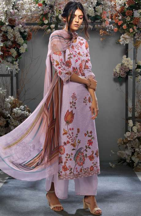 Cotton Digital Printed Ready-to-Stitch Salwar Suit Sets In Lavender - TAK7632