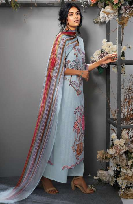 Cotton Digital Printed Ready-to-Stitch Salwar Suit Sets In Bluish-grey - TAK7638