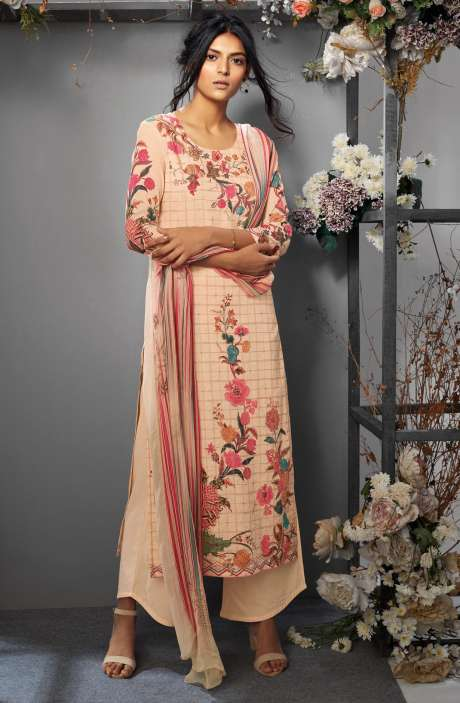 Cotton Digital Printed Ready-to-Stitch Salwar Kameez Sets In Fawn - TAK7639