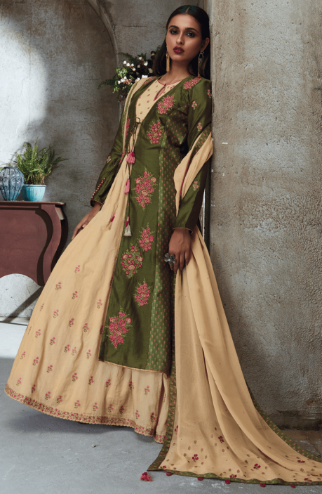 EID Collection Green and Beige Chanderi and Cotton Heavy Embroided with Sippy Work Salwar Kameez - THE4705-R