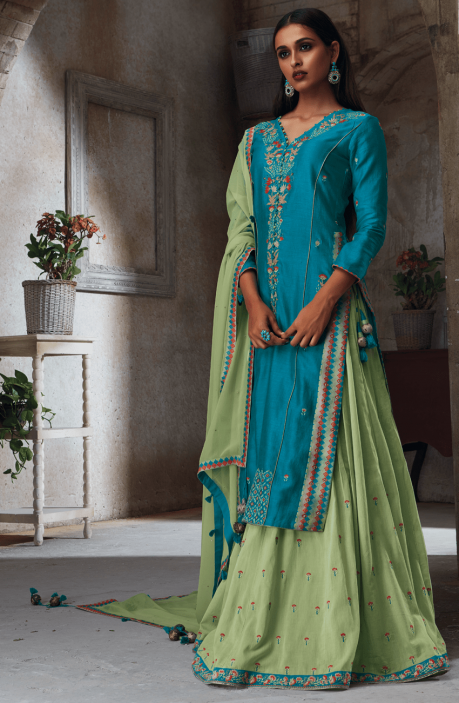 EID Special Trendy Blue Chanderi and Cotton Heavy Embroided with Sippy Work Salwar Suit - THE4706-R