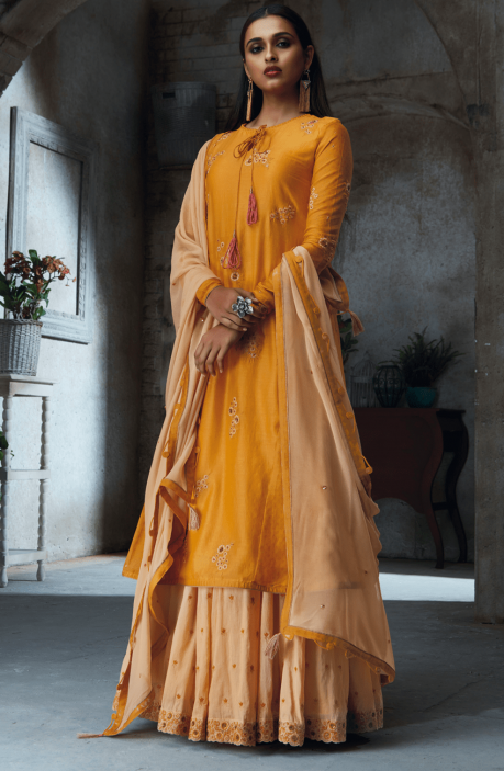 Ramadan Gift Mustard and Beige Chanderi and Cotton Heavy Embroided with Sippy Work Salwar Kameez - THE4707-R