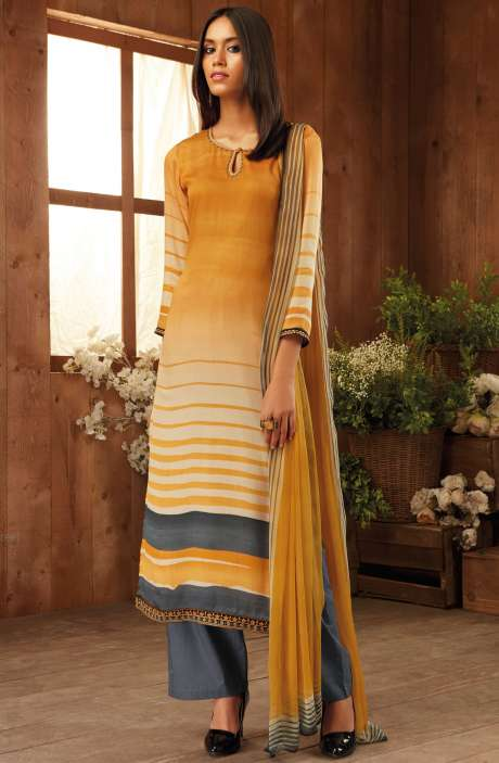 Digital Printed with Zari Embroidery Work Modal Cotton Salwar Suit Sets In Mustard and Grey - THE6302