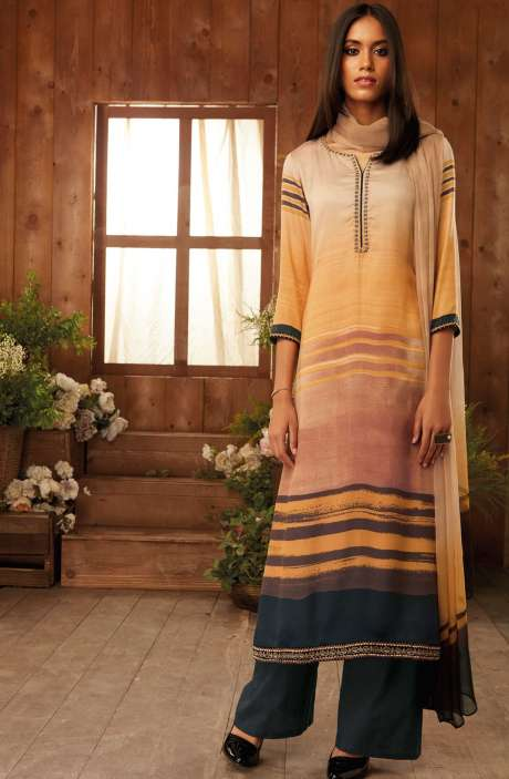 Digital Printed with Zari Embroidery Work Modal Cotton Salwar Kameez In Multi-coloured - THE6305