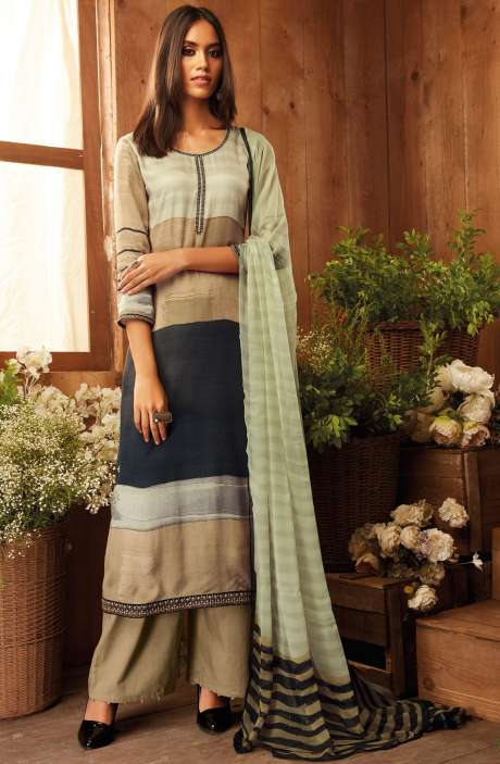 Pashmina Wool Digital Printed with Zari Embroidery Work  Salwar Suit In Multi and Beige - THE6309P