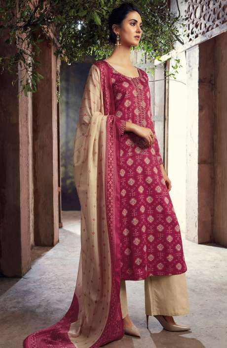 Cotton Digital Printed with Machine Embroidery Magenta  and Beige Salwar Suit - THE6417