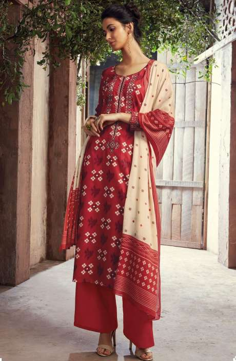 Cotton Digital Printed with Machine Embroidery Red Salwar Suit Sets - THE6418