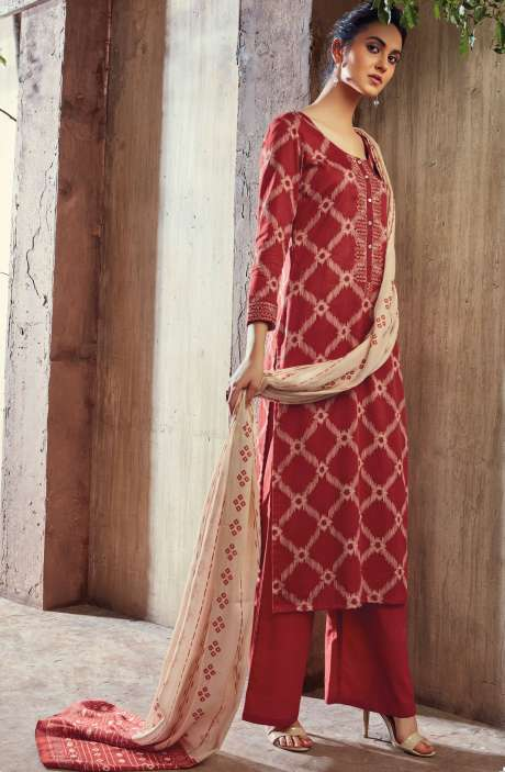 Cotton Digital Printed with Machine Embroidery Red Shalwar Kameez - THE6420
