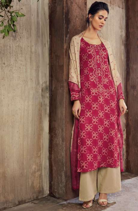 Cotton Digital Printed with Machine Embroidery Magenta and Beige Shalwar Suit - THE6421