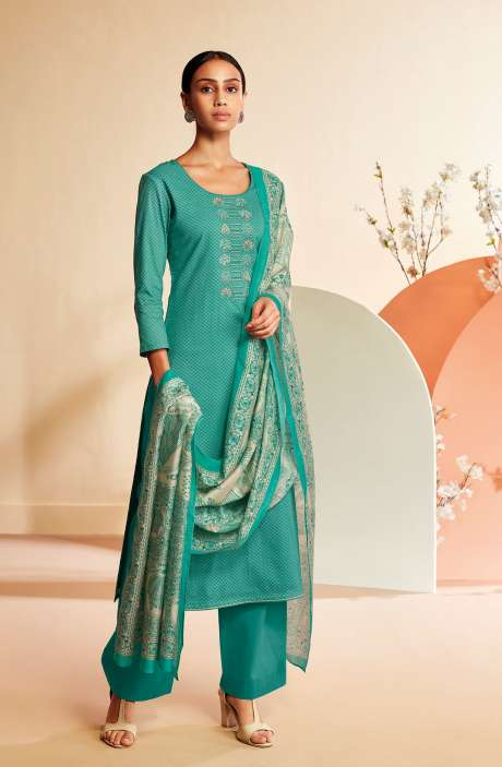 Cotton Printed Salwar Suit In Firozi - TIES0347A