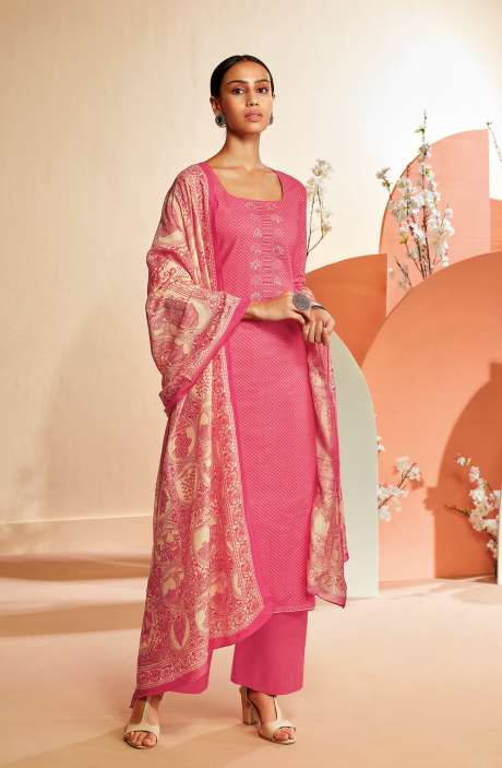 Cotton Printed Salwar Suit In Pink - TIES0347B