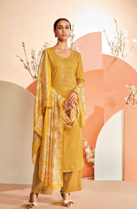 Cotton Printed Salwar Suit In Mustard - TIES0347D