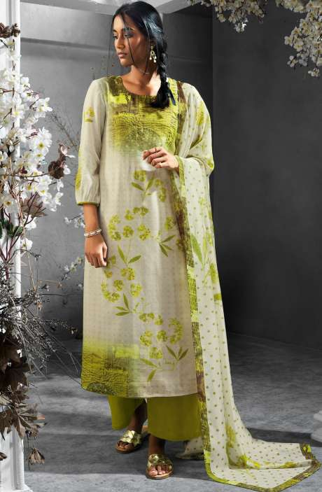 Digital Printed Silk and Satin Salwar Kameez In Cream and Green - TIL7728R