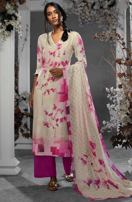 Digital Printed Silk and Satin Salwar Kameez In Cream and Magenta - TIL7729R
