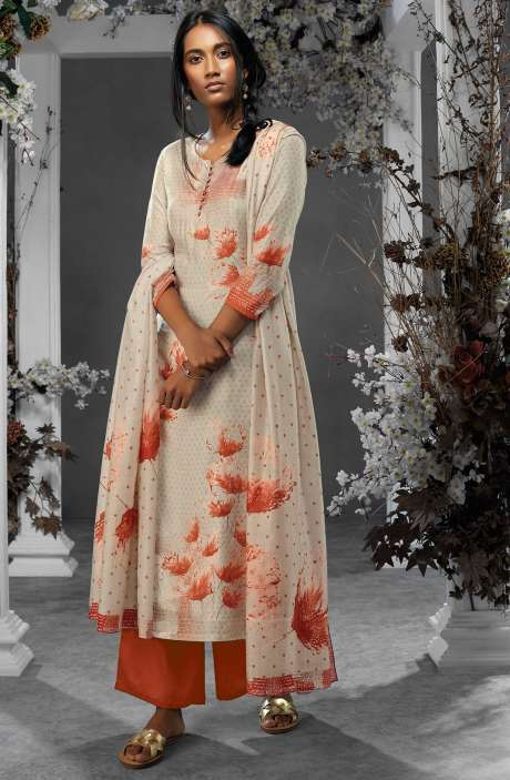 Digital Printed Silk and Satin Salwar Kameez In Beige & Rust - TIL7730R