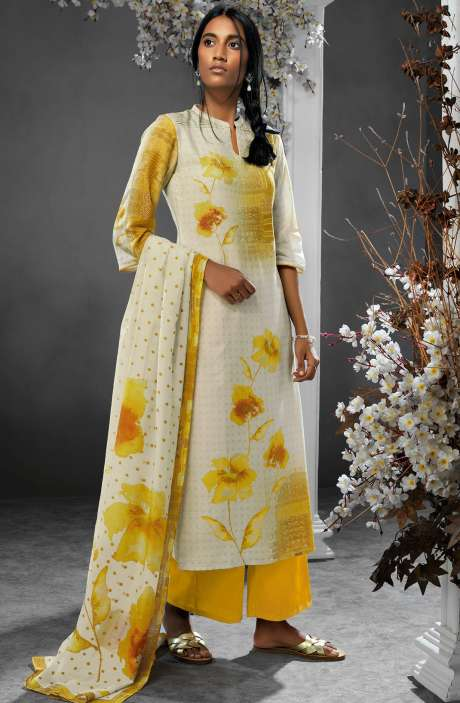Digital Printed Silk and Satin Salwar Kameez In Cream and Yellow - TIL7731R