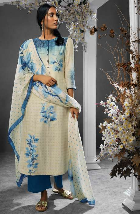 Digital Printed Silk and Satin Salwar Kameez In Cream and Royal Blue - TIL7732R