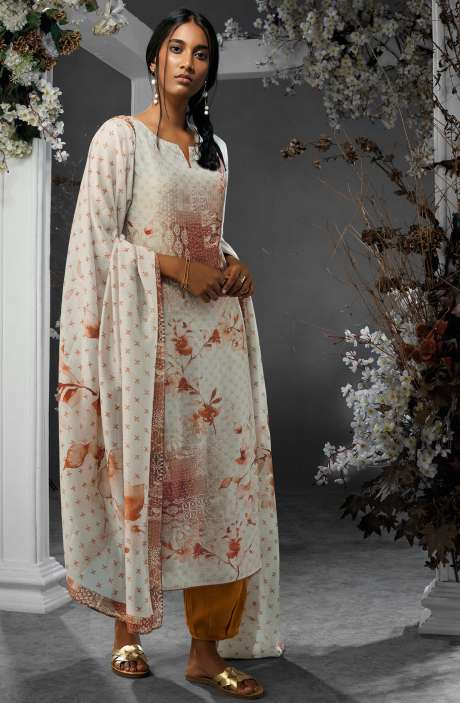 Digital Printed Silk and Satin Salwar Kameez In Cream and Rust - TIL7733R