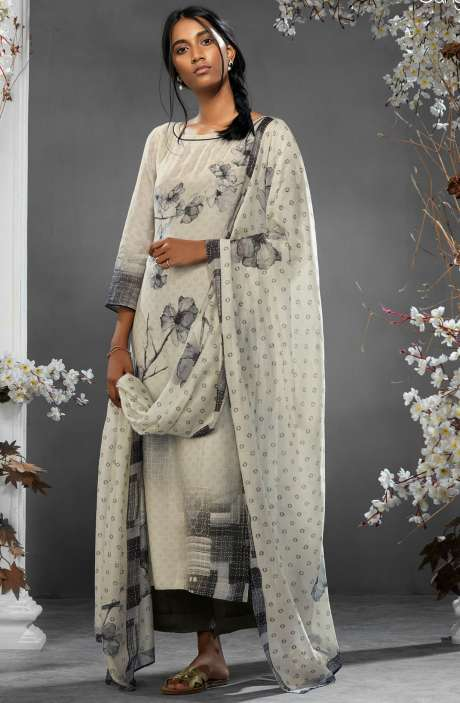 Digital Printed Silk and Satin Salwar Kameez In Cream and Black - TIL7734R